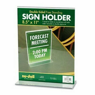 Nu-dell Acrylic Sign Holder, 8 1/2 x 11, Clear, 1 Each (NUD38020)