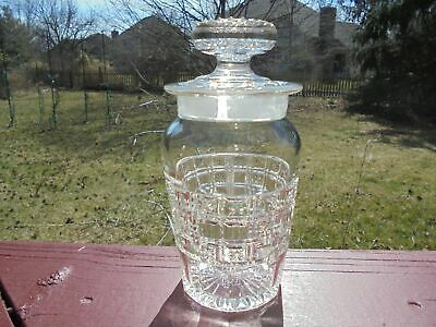 Antique EAPG Pattern Glass Apothecary Jar Stars & Squares 7""