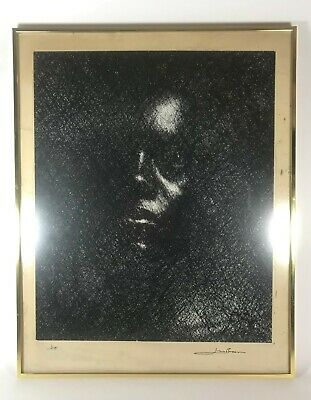 Vintage African American Art Signed Jim Brown titled Joe Photography Pen & Ink