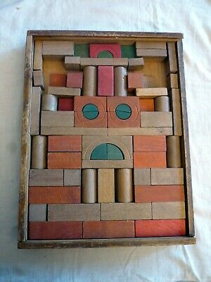 Old pre-war Toy Wooden Construction Kit by JSG, Germany,  very good