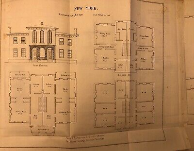 1848 Drawing: US Navy New York Brooklyn Navy Yard Officers Dwellings - Antique