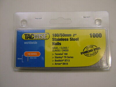 2nd fix Stainless Steel straight brad finish nails 18 gauge 50mm box of 1000