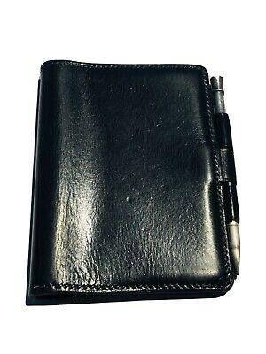 HERMES Paris Black Leather Mini Agenda with Sterling Silver Pencil
