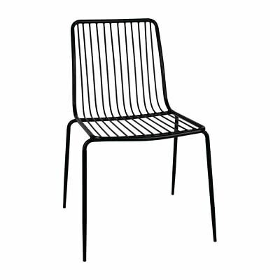 Bolero Dining Chairs in Black - Metal for Indoor & Outdoor Use - Pack of 4
