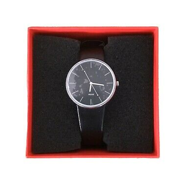 ALESSI  LUNA STAINLESS STEEL WATCH with Black Leather Strap