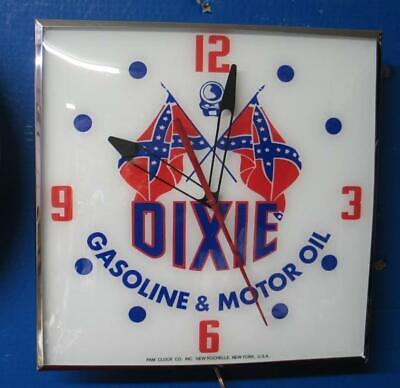Vintage Pam Lighted Advertising DIXIE GASOLINE & OIL Clock