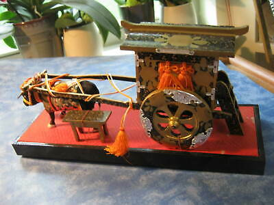 "VINTAGE JAPANESE HINA DOLLS FURNITURE OX CART + OX 5 1/2"" Tall 11 1/2"" Long"