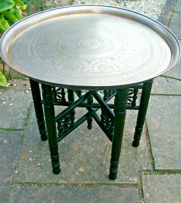 Antique Islamic Ebonised Folding Side Table With  Brass Tray Top