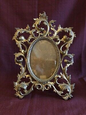 """Victorian Cast Iron Gilt French Rococo Picture Frame 8"""" x 11"""""""