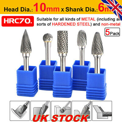 5X 1/4'' Tungsten Carbide Rotary Point Burr Die Grinder Shank Drill Bit Tool Set