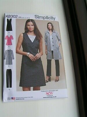 Simplicity Sewing Pattern Shirt Dress Wrap Over 10-18 20-28 8687 B/&W COVER UNCUT