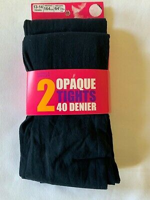 New Marks And Spencer Pack Of 2 Girls Navy Opaque Tights  Size 13-14 Years