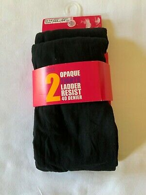 New Marks And Spencer Pack Of 2 Girls Navy Opaque Tights Size 7-8 Years