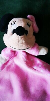 """Disney Minnie Mouse Lovey Security Blanket Rattle Crinkle Ears Pink 13"""" square"""