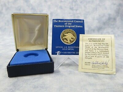 Bicentennial Council of the 13 Original States - Proof 500/1000 Fine Gold Medal