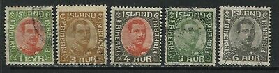 Iceland 1920-22 various values to 6 aurar used