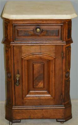 18544 Victorian Burl Walnut Marble Top Half Commode Night Stand
