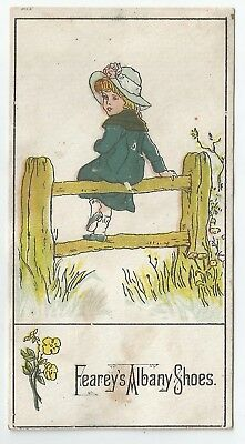 Antique 1880s C. M. Stanley Boots & Shoes Victorian Girl Trade Card Ithaca, NY