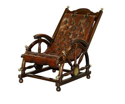 Stamped The Clermont Baltimore 1801 Chesterfield Brown Leather Library Armchair