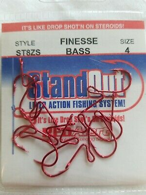 2 pks NEW Standout Finesse Drop Shot Bass Hook Size 1//0 ST4ZS-1//0