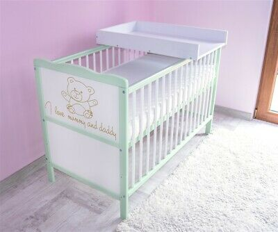 Wooden Baby Cot Bed & Foam Mattress & Top Changer ✔ Converts to Toddler Bed