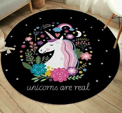 Play Mat Crawling Pad Round Soft Non Slip Home Decor Carpet Unicorn Pattern Rug