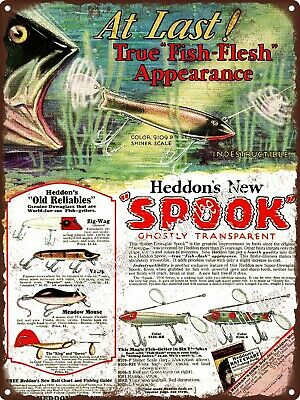 """1930 James Heddon's Sons Fishing Lures Spook Ghostly Metal Sign 9x12"""" A320"""