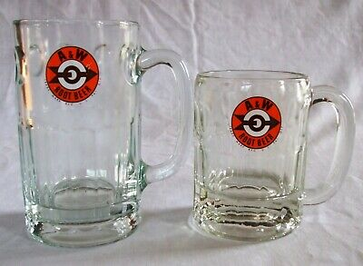 "Lot of Two (2) A & W Root Beer Mugs Orange Bullseye Logo 5-3/4"" and 4-1/4"""