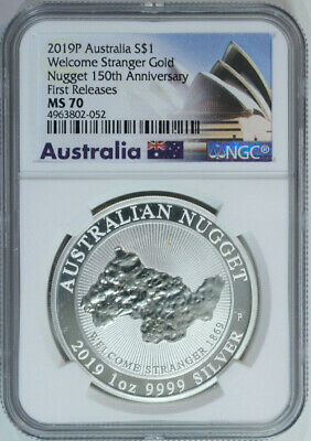 2019 P Australia 1 oz Silver Welcome Stranger Nugget $1 NGC MS70 First Releases