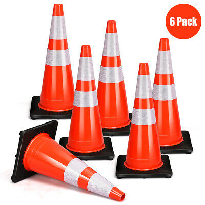 "6Pcs PVC Traffic Safety Cones 28"" Fluorescent Reflective Road Parking Cones"