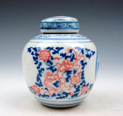 Blue&White Porcelain Ox-Blood Red Flowers Dragons Little Water Pot Jar #08301701