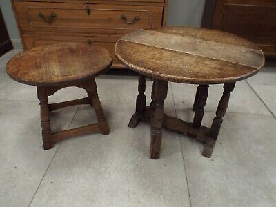 Two Antique Oak Occasional Coffee Tables