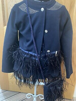 ADee Navy Feather Dress Set Age 7-8 Excellent Condition