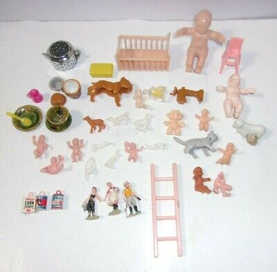 Vintage Gumball Prize Charm Toy Cracker Jack & Dollhouse Miniatures Misc Toy Lot
