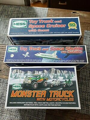 Hess toy truck lot!!! space shuttle w/ satellite, monster truck, space cruiser