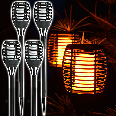 Solar Fackel 4er Set flackernde Flamme LED Gartenfackel Solarfackel Leuchte