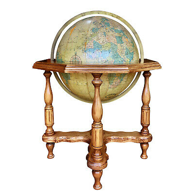 "Vintage Replogle 20"" Large Lighted Globe on Cherry Wood Stand Base"