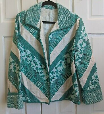Beautiful handmade reversible turquoise quilted cotton women's jacket