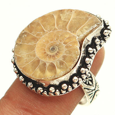Handcrafted Silver Ammonite Fossil Stamped Shank Ring Size 9   Stamp: 925