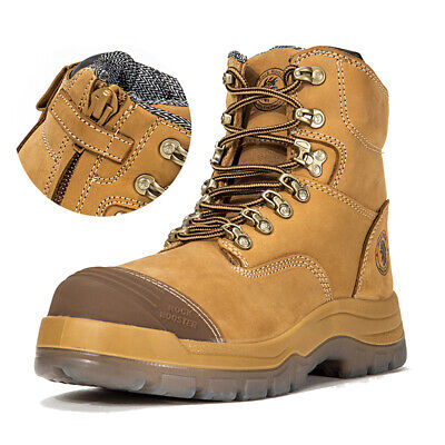 Work Boots for Men Steel Toe Zip-Side Lace Up Safety Shoes Wheat Working Ankle