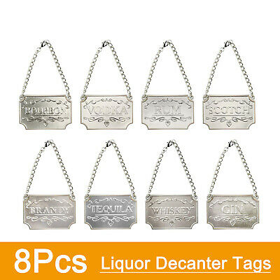 New! 8Pcs Liquor Decanter Tags Labels with Adjustable Chain for Bottles (Silver)