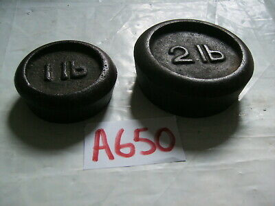 Vintage  Cast Iron 2Lb  & 1Lb Round Kitchen /  Shop Scale Weight / Paperweights