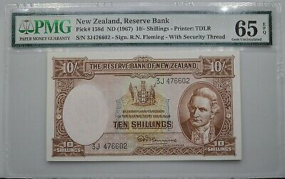 New Zealand ND 1967 10/- Shillings Note Pick 158d PMG 65 EPQ Gem Uncirculated