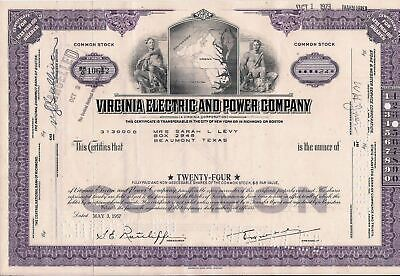 5 different US stock certificates & bonds Virginia Electric and Power Company