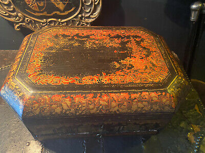 Antique Late 19th Century Chinoiserie Sewing Box