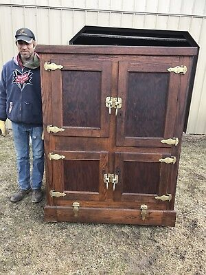 Wonderful Large Commercial Antique Ice Box Country Store Display Original Finish