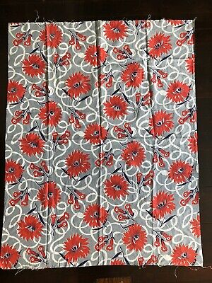 """VINTAGE 1940's FEEDSACK COTTON FABRIC FULL SIZE 44""""x35"""" FLORAL PRINT"""