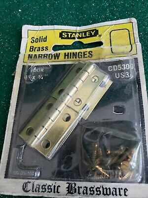 4 Vintage Solid Brass Stanley Small Hinges 1 By 3/4 Inches With Screws (N83)