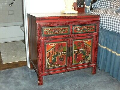 """Antique Chinese Colorful Red Lacquer Cabinet 30 1/2"""" wide"""