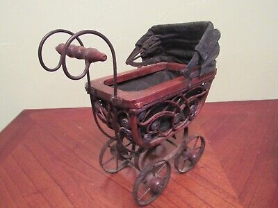 "VINTAGE  WICKER WOOD METAL VICTORIAN  Baby Doll Buggy Carriage Stroller 19"" Tall"